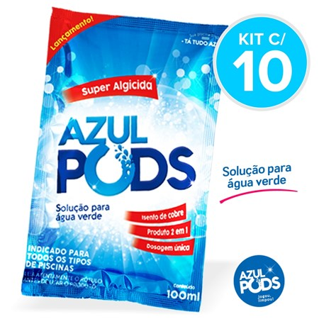 Super Algicida AZULPODS 100 ml - Kit c/ 10