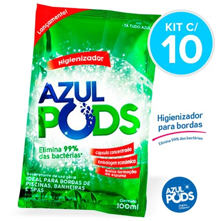 Higienizador AZULPODS 100 ml - Kit c/ 10